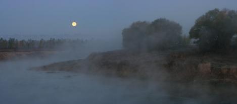 Moon in the fog